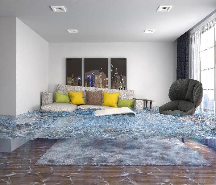interior of the house flooded with water